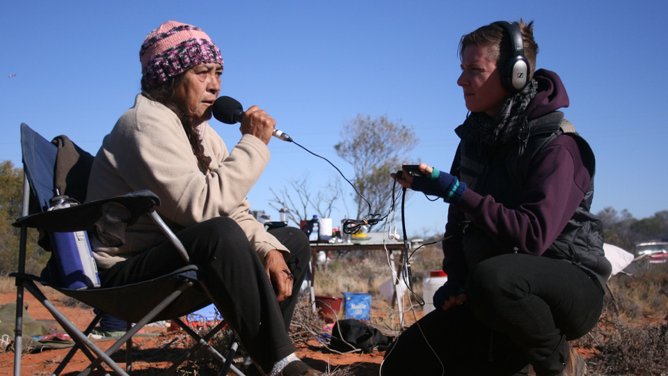 The Radioactive Show's Jessie Boylan interviews Sue Hasseldine at Lizards Revenge festival and protest, Roxby Downs, 2012. Photo by Gem Romuld.