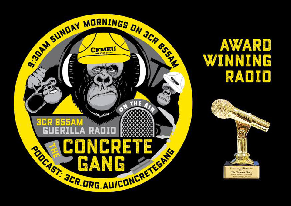 Concrete Gang, winners of the Spirit of 3CR Award, 2015