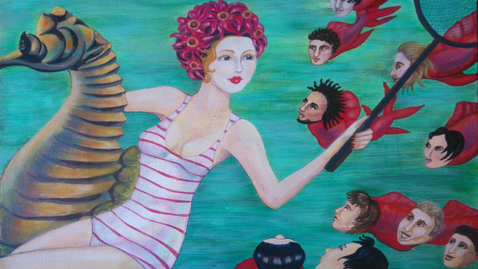 Image of a woman riding a seahorse - Illustration by Liza Dezfouli
