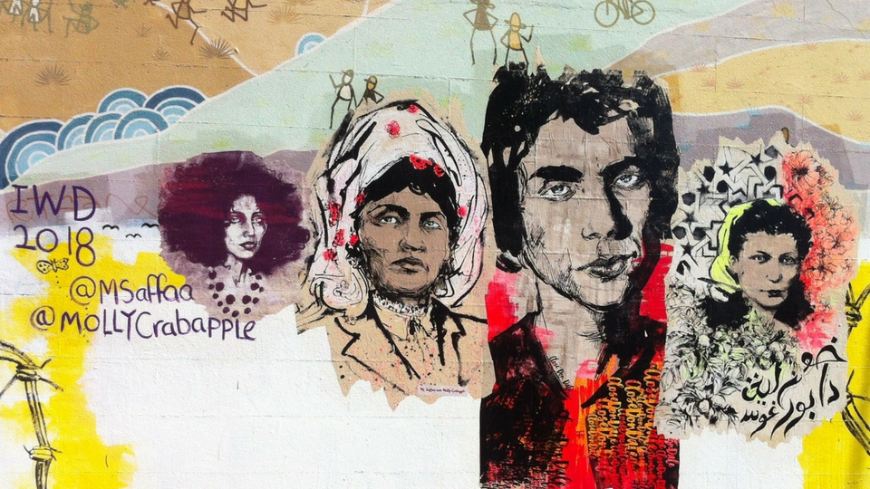 International Women's Day Artwork by Ms Saffa and Molly Crabapple on 3CR wall.