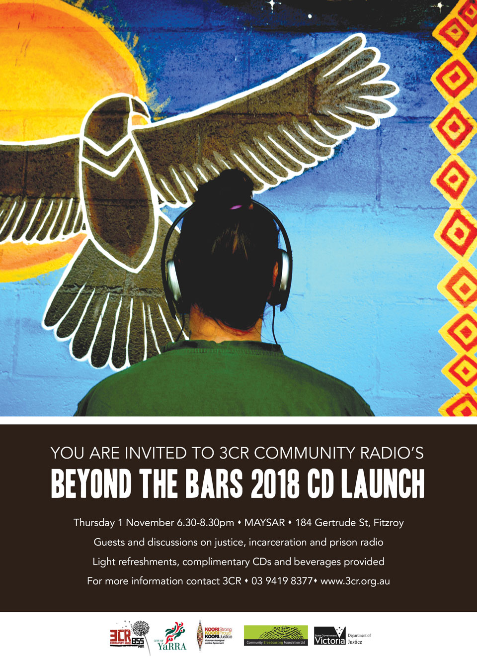 Beyond the Bars 2018 CD launch invitation