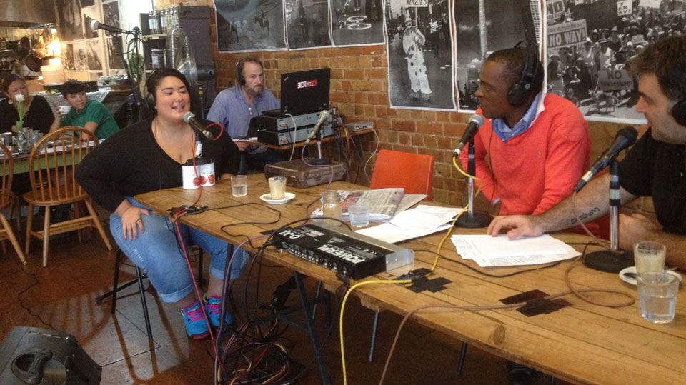 Breakfast at Friends of the Earth - live on air