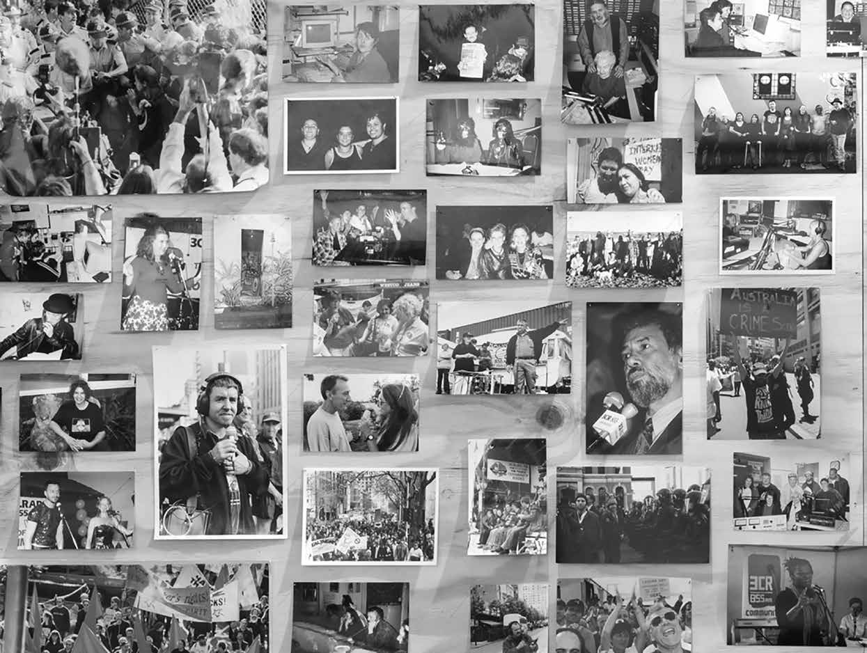Photo board at the 3CR 'If People Powered Radio' exhibition
