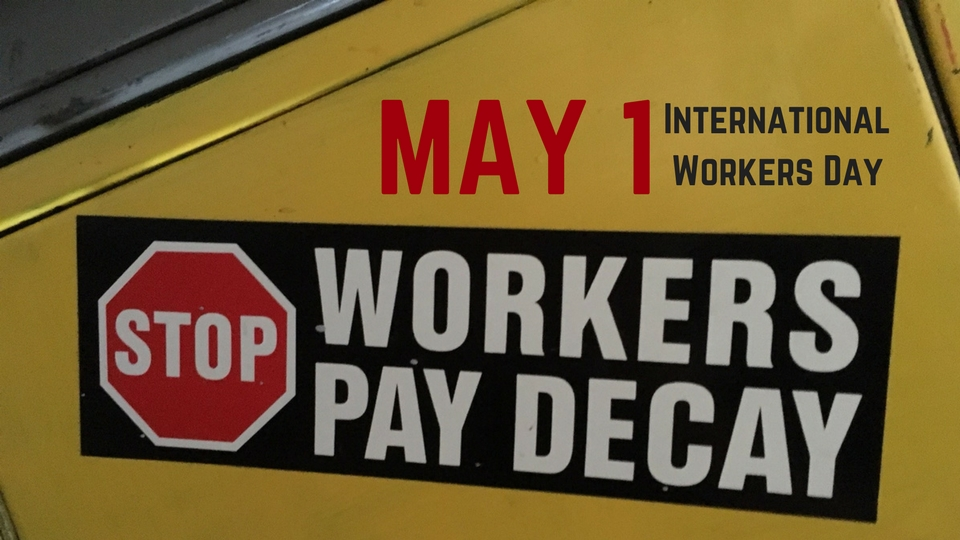 'Stop workers pay decay' sticker.