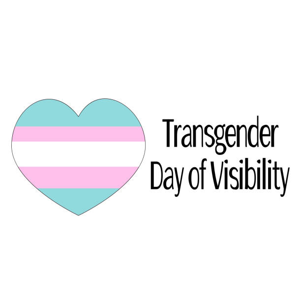 heart shape with 3 colours of trans flag and text Trans Day of Visibility
