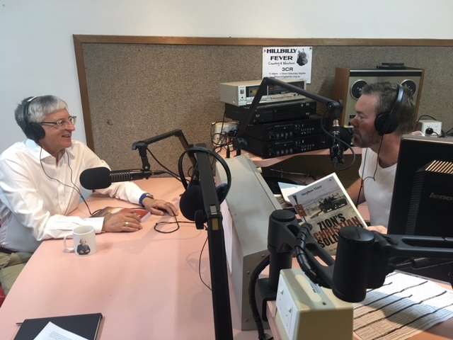 Dr Rev Stephen Sizer and Robert Martin in the 3CR studios