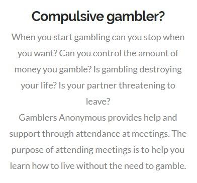Compulsive Gambling Gamblers Anonymous