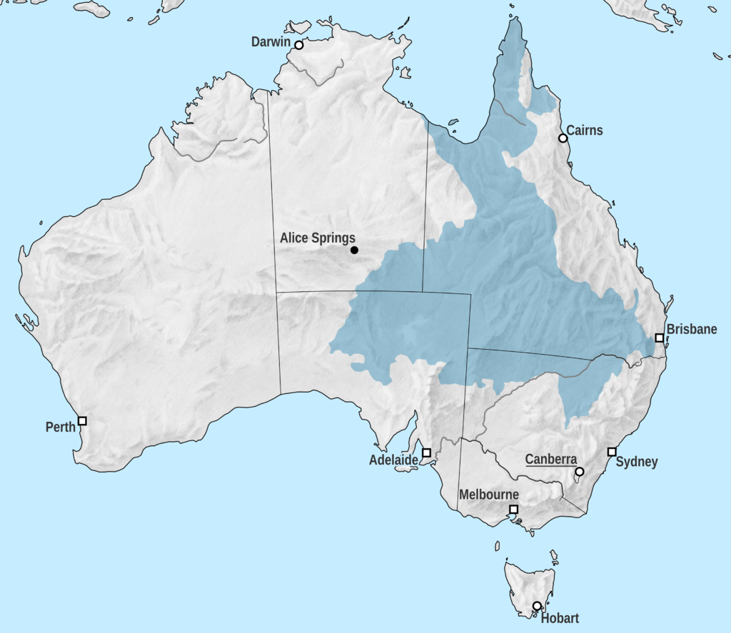 Map of Australia's Great Artesian Basin (Tentotwo, via Wikimedia Commons)