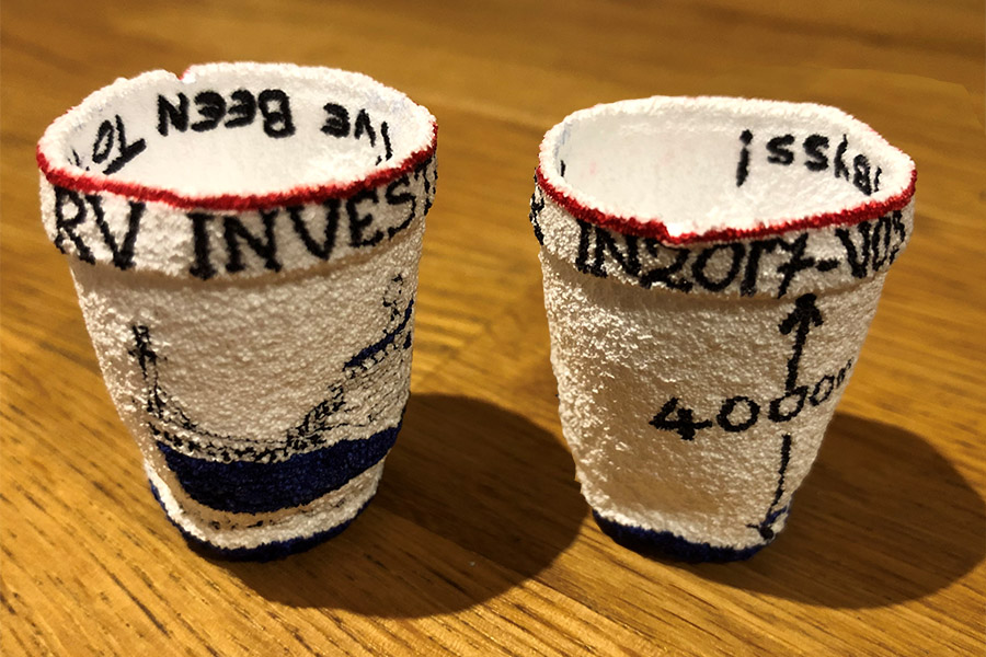 Two views of a styrofoam coffee cup that was carried on the RV Investigator in 2017 and crushed by water pressure in a 4000 m deep abyss (Photo by Chris Lassig)