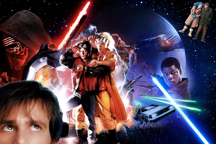 Poster mashup of Star Wars: Episode VII—The Force Awakens, Back to the Future 2 and Eternal Sunshine of the Spotless Mind