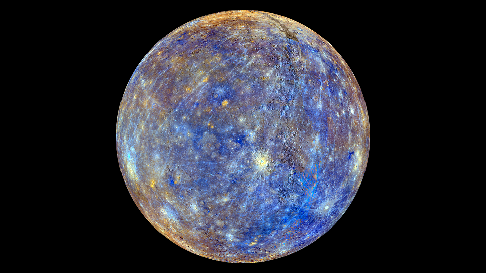Photo of Mercury taken by the MESSENGER spacecraft, enhanced to show chemical composition (NASA)