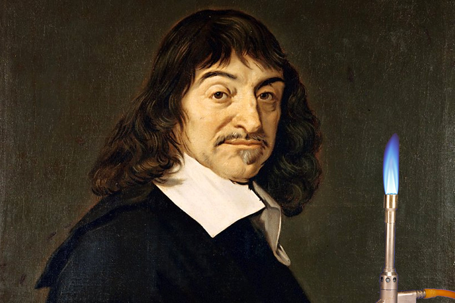 Portrait of René Descartes with Bunsen burner (apologies to Frans Hals)