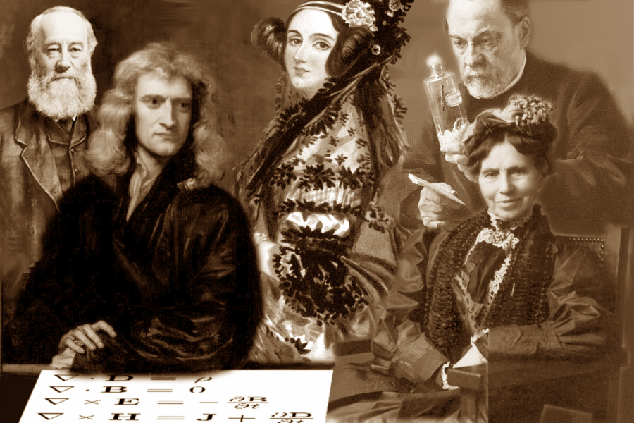 Left to right: James Prescott Joule, Isaac Newton, Ada Lovelace, Louis Pasteur and Clara Barton. Maxwell's equations are on the table.