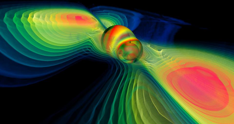 Numerical simulation of colliding rainbow holes, sorry, BLACK holes, by Werner Benger (via NASA Blueshift and Wikimedia Commons)