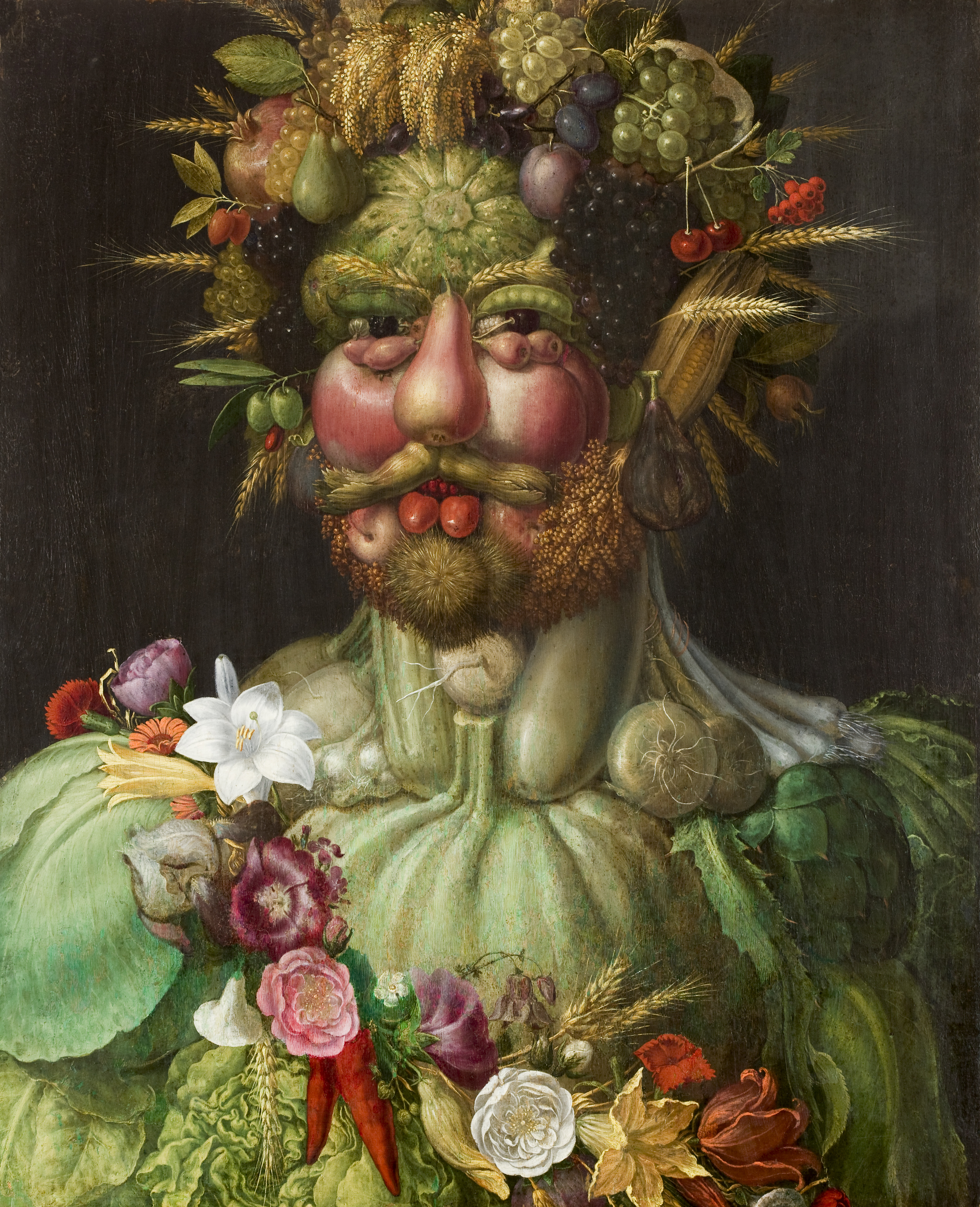 Painting of man made of fruit and vegetables