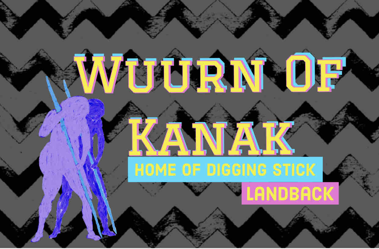 Wuurn of Kanak Home of digging stick Land Back text over black grey graphic with a person holding a digging stick