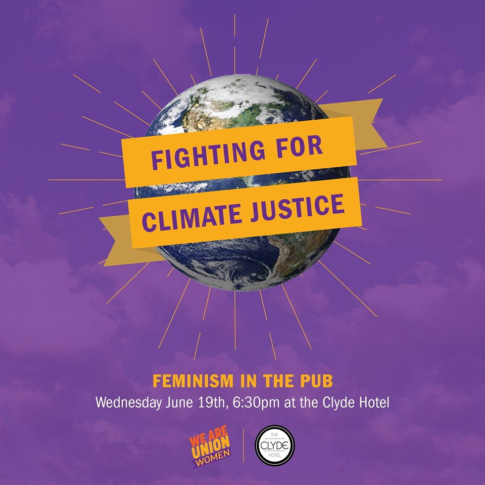 Fighting for Climate Justice text overlays image of earth on purple background