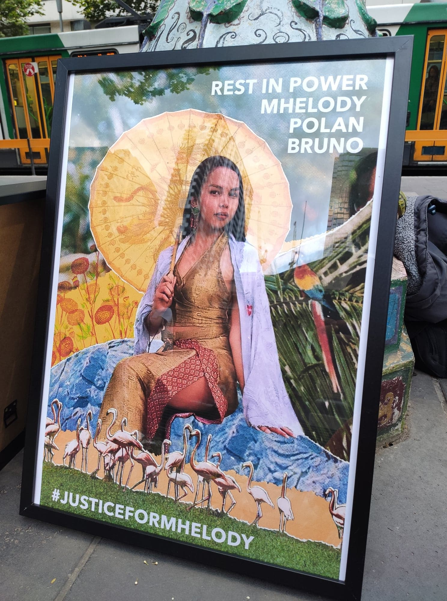 Rest in power Mhelody Polan Bruno framed at the vigil in Melbourne 2019, art work by Lachlan Pham