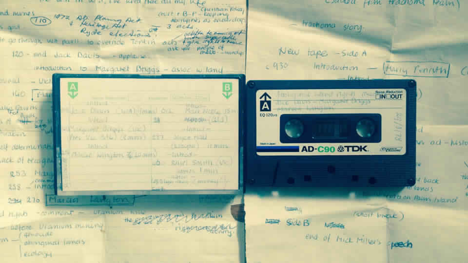 Original cassette and notes from the 3CR archives - Land Rights Public Meeting, Melbourne, 1978 recorded by 3CR volunteer Nancy Atkin.