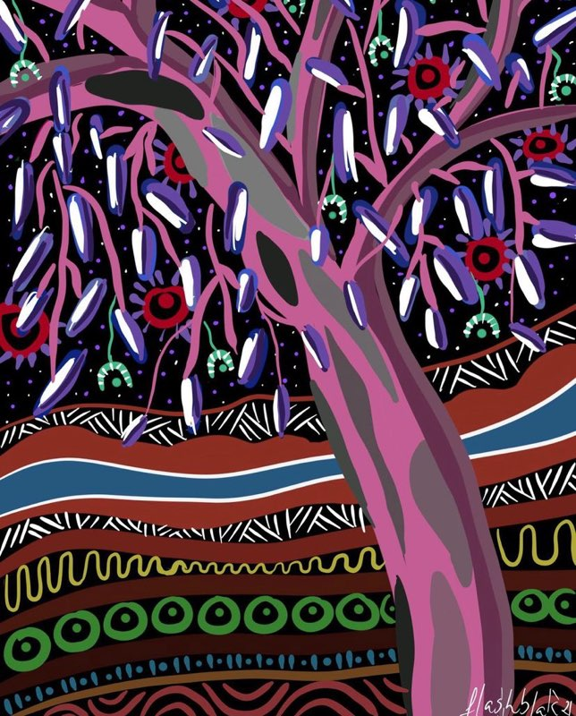 A digital painting of a purple, pink and beige tree with purple, white, red and green foliage. In the background is a landscape composed of multicoloured, patterned layers.