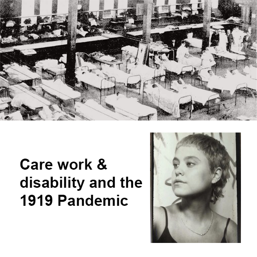Image of hospital beds from 1919, and image of Julia Bak