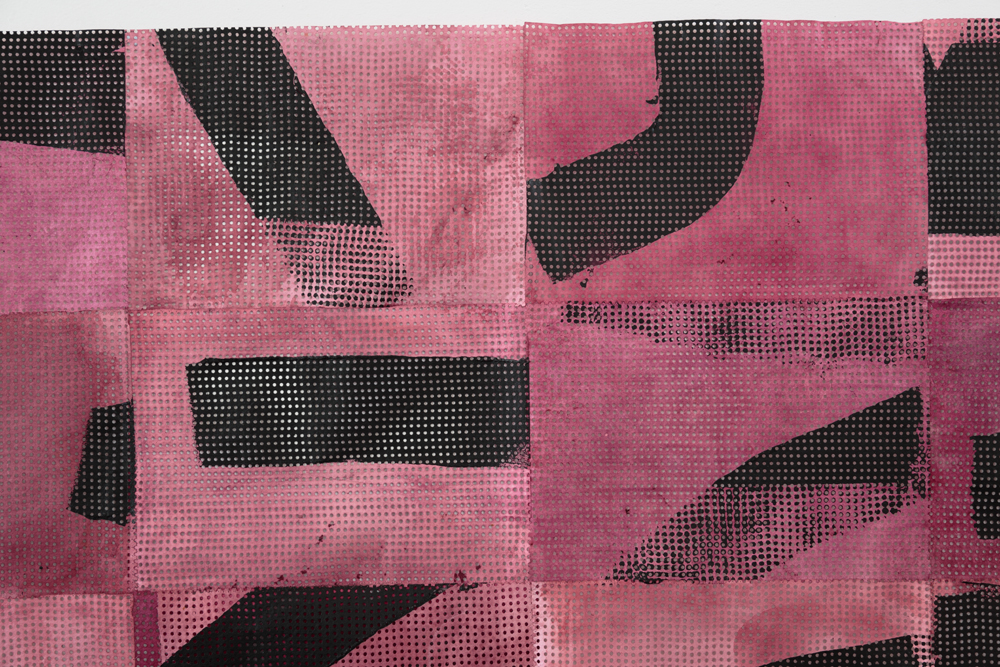 Pink and black abstracted text detail from work of artist Julia Boros