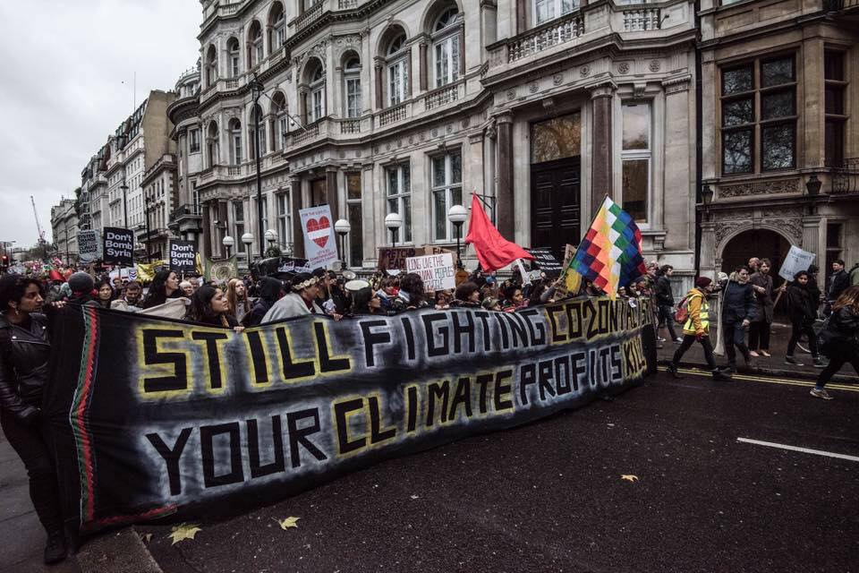 Indigenous protestors lead the London climate march, November 2015.