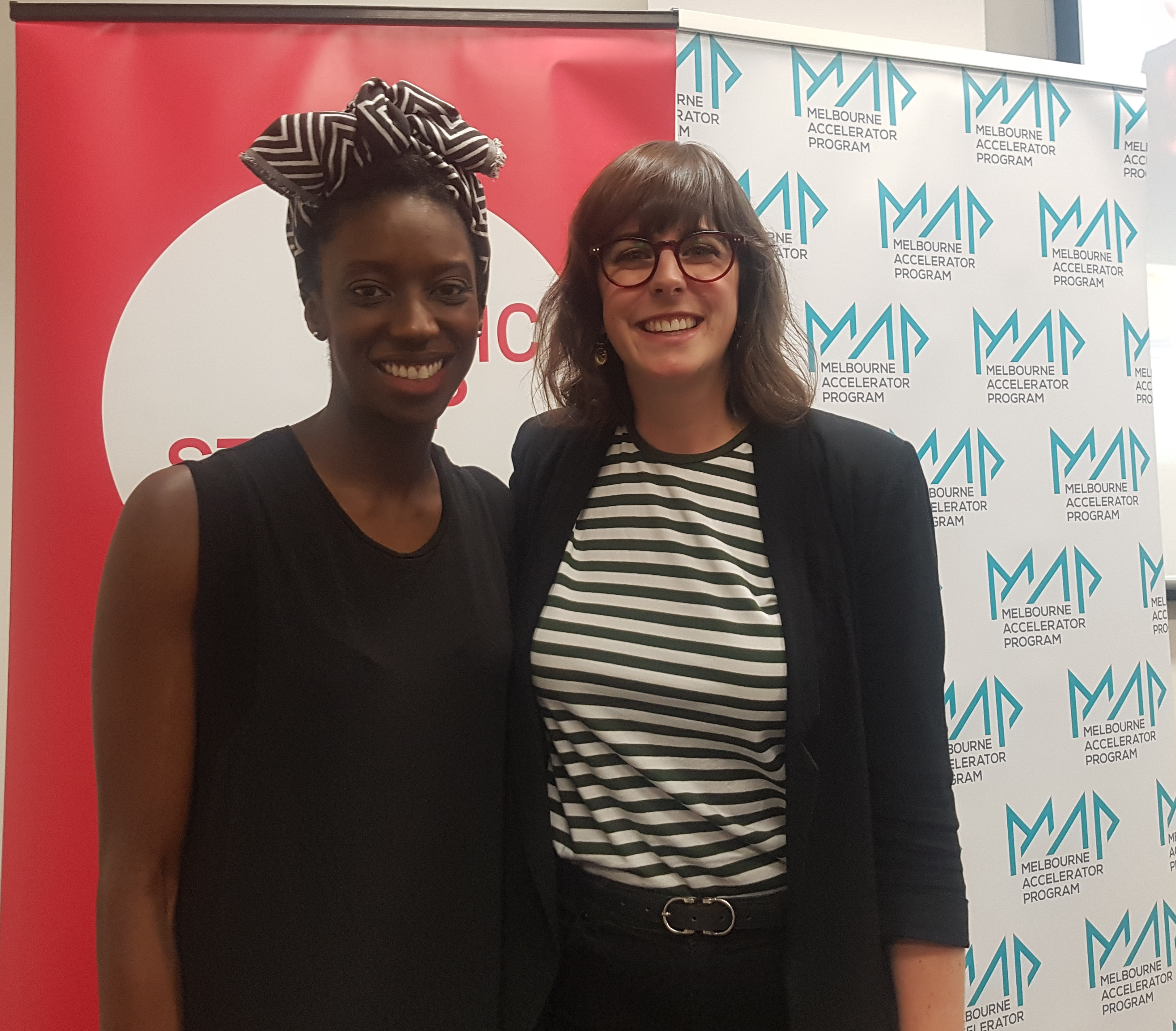 Abena Ofori, Social Impact Manager at the Melbourne Accelerator Program (MAP) and Judy Anderson, CEO of Startup Victoria