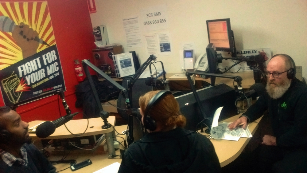 Steph and Ravi from Ride for Refugees in the 3CR studio