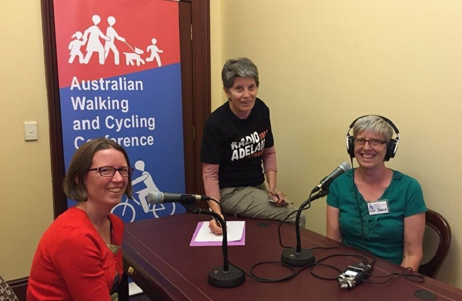 Step Away from The Car interviewer/producers Nicky Page, Suzanne Reece and Alexa McAuley at the 2019 Australian Walking and Cycling Conference in Adelaide