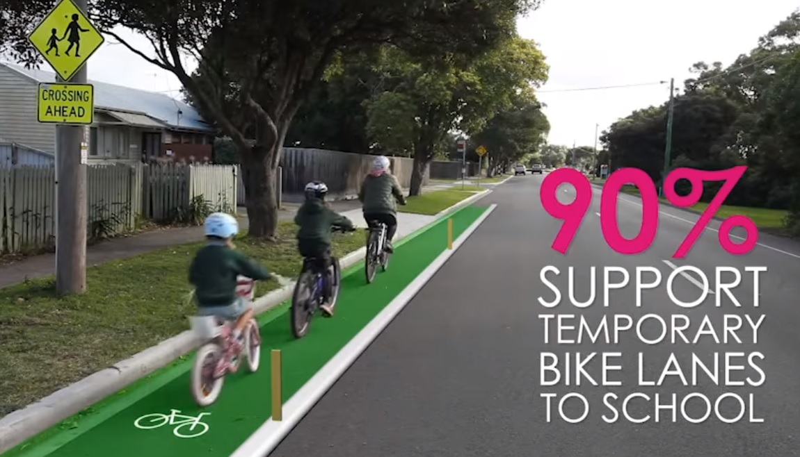 Image: Amy Gillett Foundation released results of a survey that found 90 per cent of Australians agreed more needed to be spent on temporary bike lanes