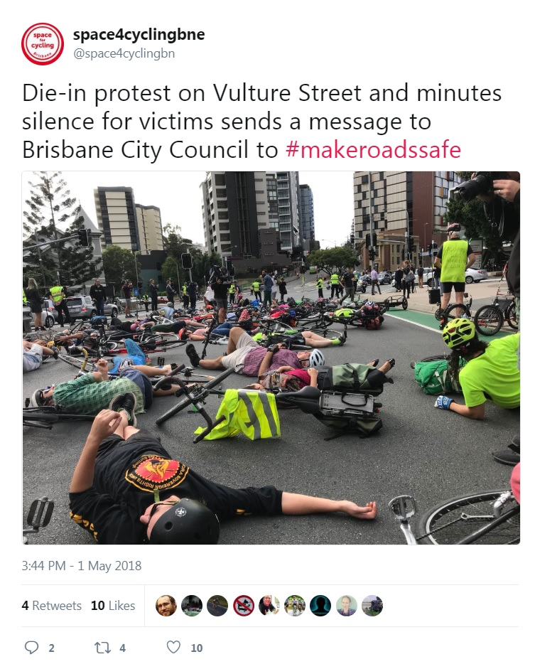 space4cyclingbne: Die-in protest on Vulture Street and minutes silence for victims sends a message to Brisbane City Council to #makeroadssafe