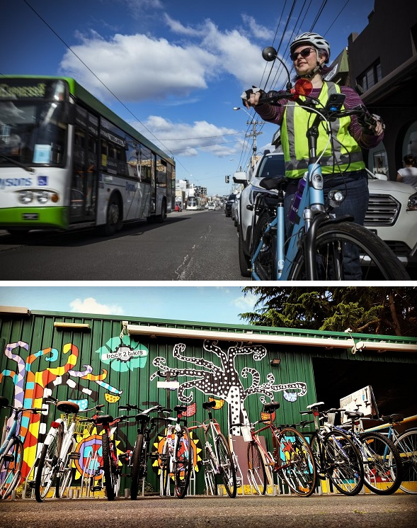"""""""Darebin resident Ruth Jelley is advocating for a cycling lane on High Street, Thornbury"""" Photo: Chris Hopkins + Back2Bikes in Port Melbourne"""