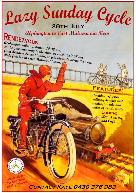 Lazy Sunday Cycle, 28 July 2019 hosted by the Vintage Cycle Club of Victoria