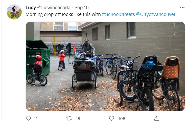 Credit: @Lucyincanada 'Morning drop off looks like this with #SchoolStreets  @CityofVancouver'