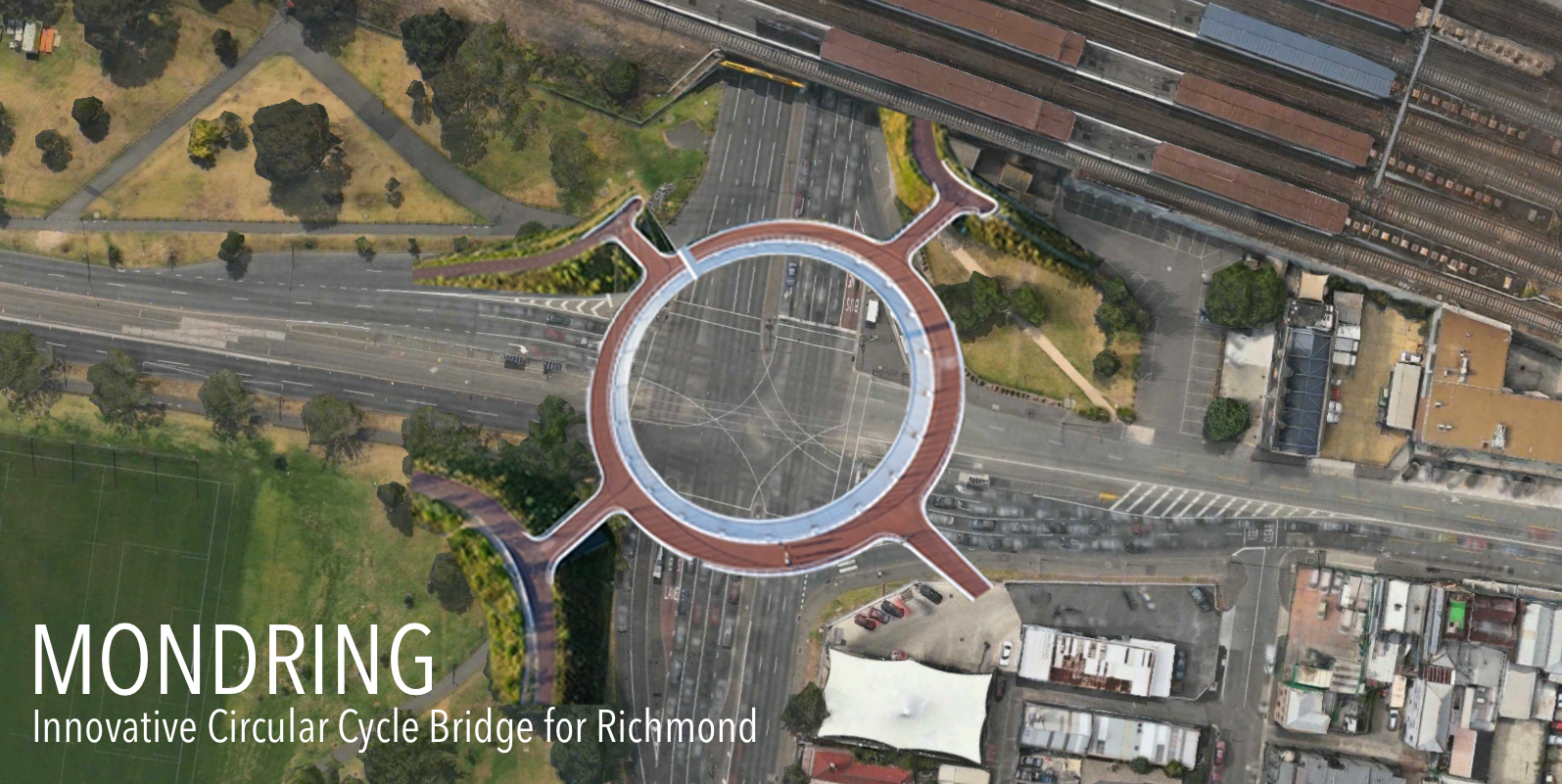 Mondring is an elevated path proposed for Richmond, based on the Hovenring in Eindhoven, The Netherlands. It's intended for the Punt Road / Swan Street intersection, complementing the proposed intersection redevelopment.