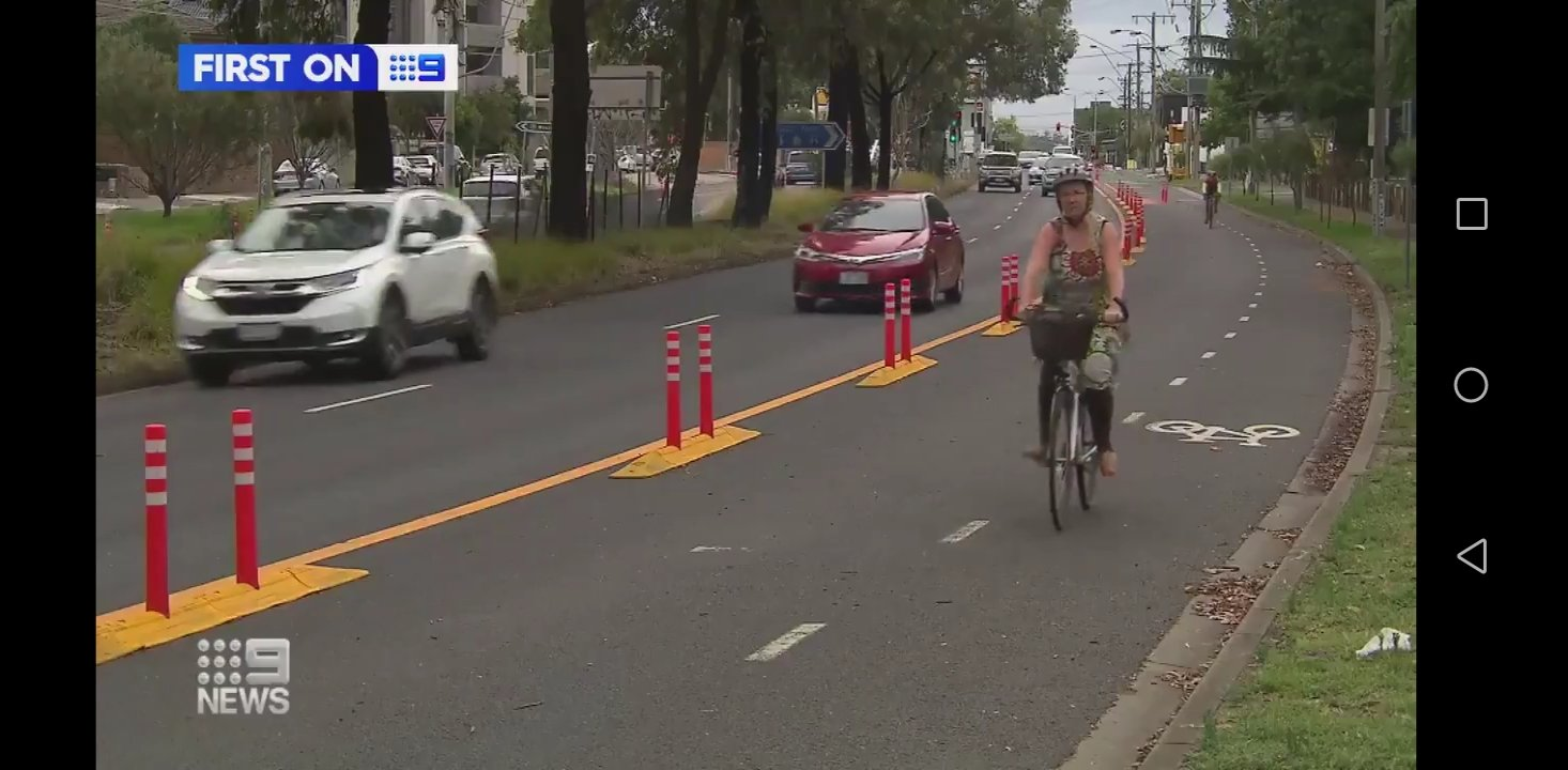 100km of protected bicycle lanes across Melbourne is way overdue, people who've long thought about riding can do so now safely & makes sense during COVID19 (Nine News screengrab)