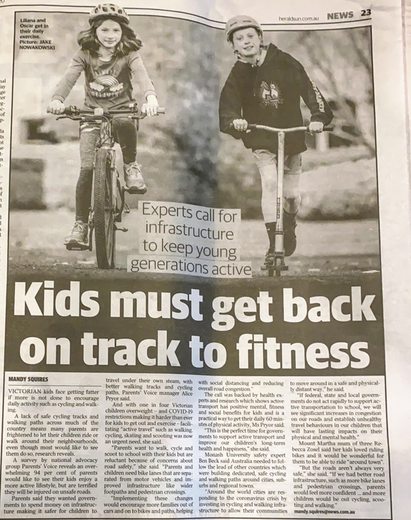 """Kids must get back on track to fitness"" Sunday Herald Sun, 2nd August 2020"