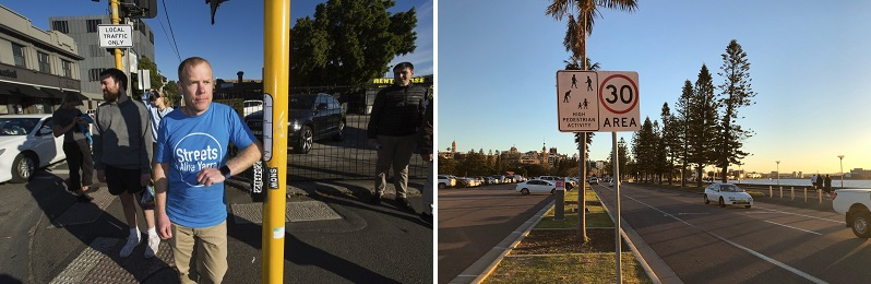 First image: Jeremy Lawrence (Streets Alive Yarra) is pushing for more pedestrian crossings and wider footpaths in his suburb. Credit: Paul Jeffers. Second image: supplied by Matthew Mclaughlin from The Conversation article