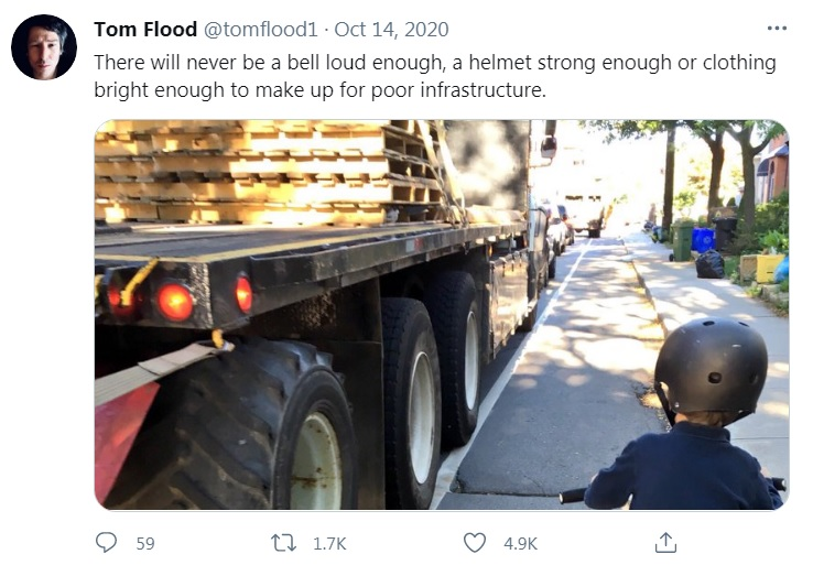 """""""There will never be a bell loud enough, a helmet strong enough or clothing bright enough to make up for poor infrastructure"""""""