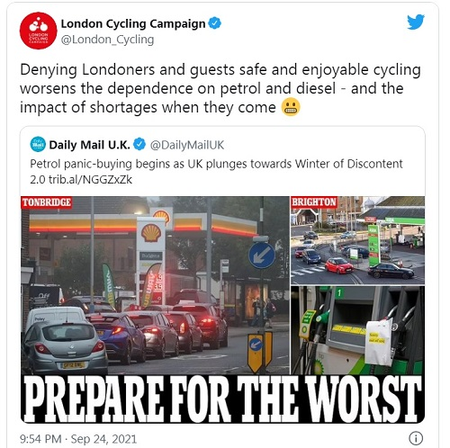 'Denying Londoners and guests safe and enjoyable cycling worsens the dependence on petrol and diesel - and the impact of shortages when they come'