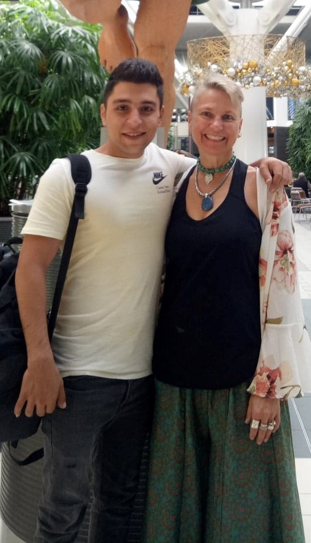 Jill and Amir Hossein at Brisbane airport 2019 when he flew to Canada to freedom