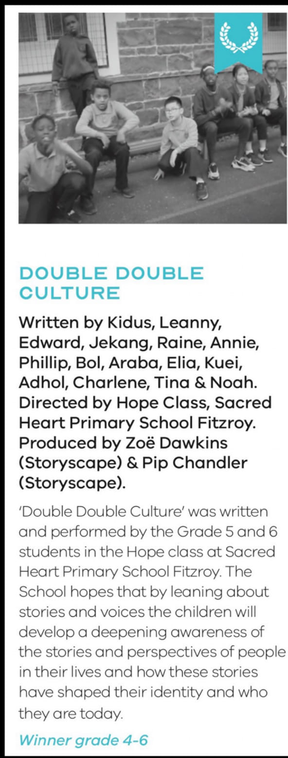 Winner of Victorian Multicultural Film Award 2021, Year 4-6 category. 'Double, Double Culture' by SLC HOPE