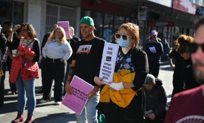 Safe injecting rally in Footscray. Image: redflag.org.au