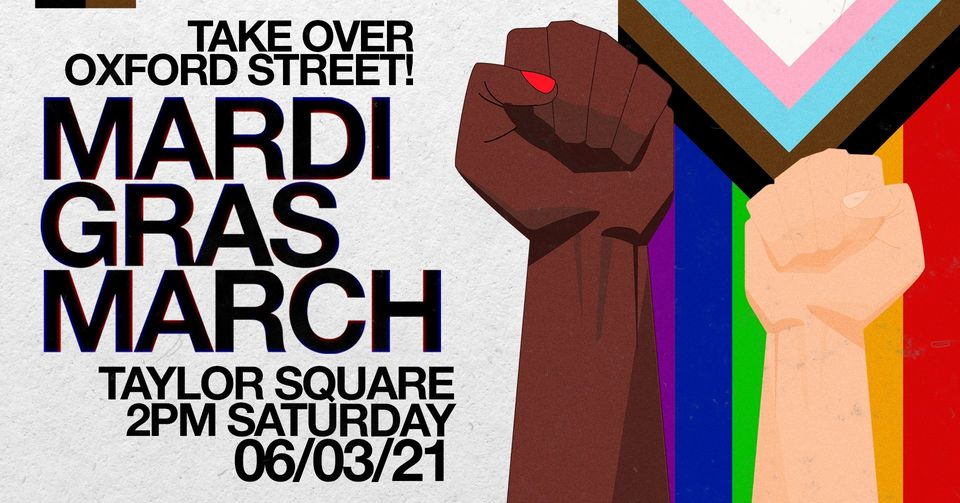 Poster for Pride in Protest Mardi Gras Takeover