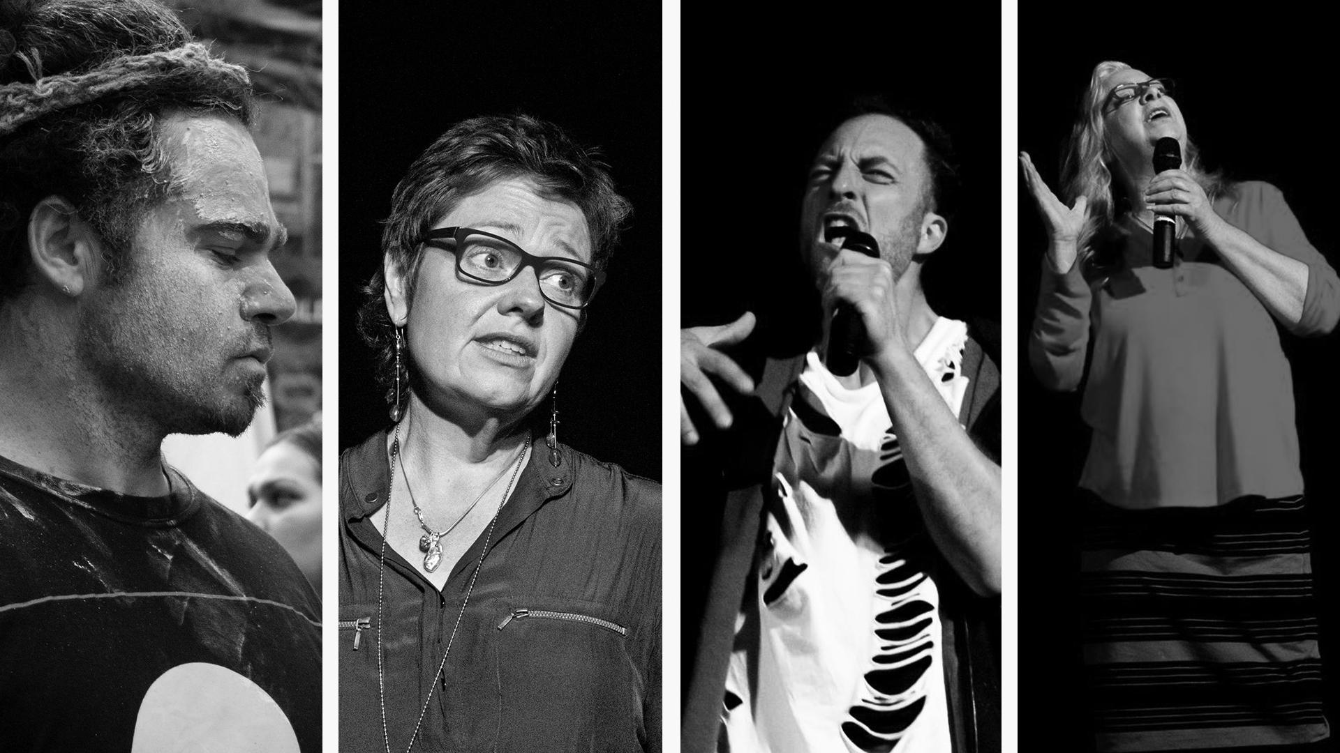 Montage: Neil Morris (musician), Kim Jeffs, Yoram Simons, Yvette Stubbs (poets)