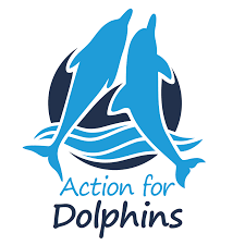 Logo of two dolphins leaping out of water - Action for Dolphins