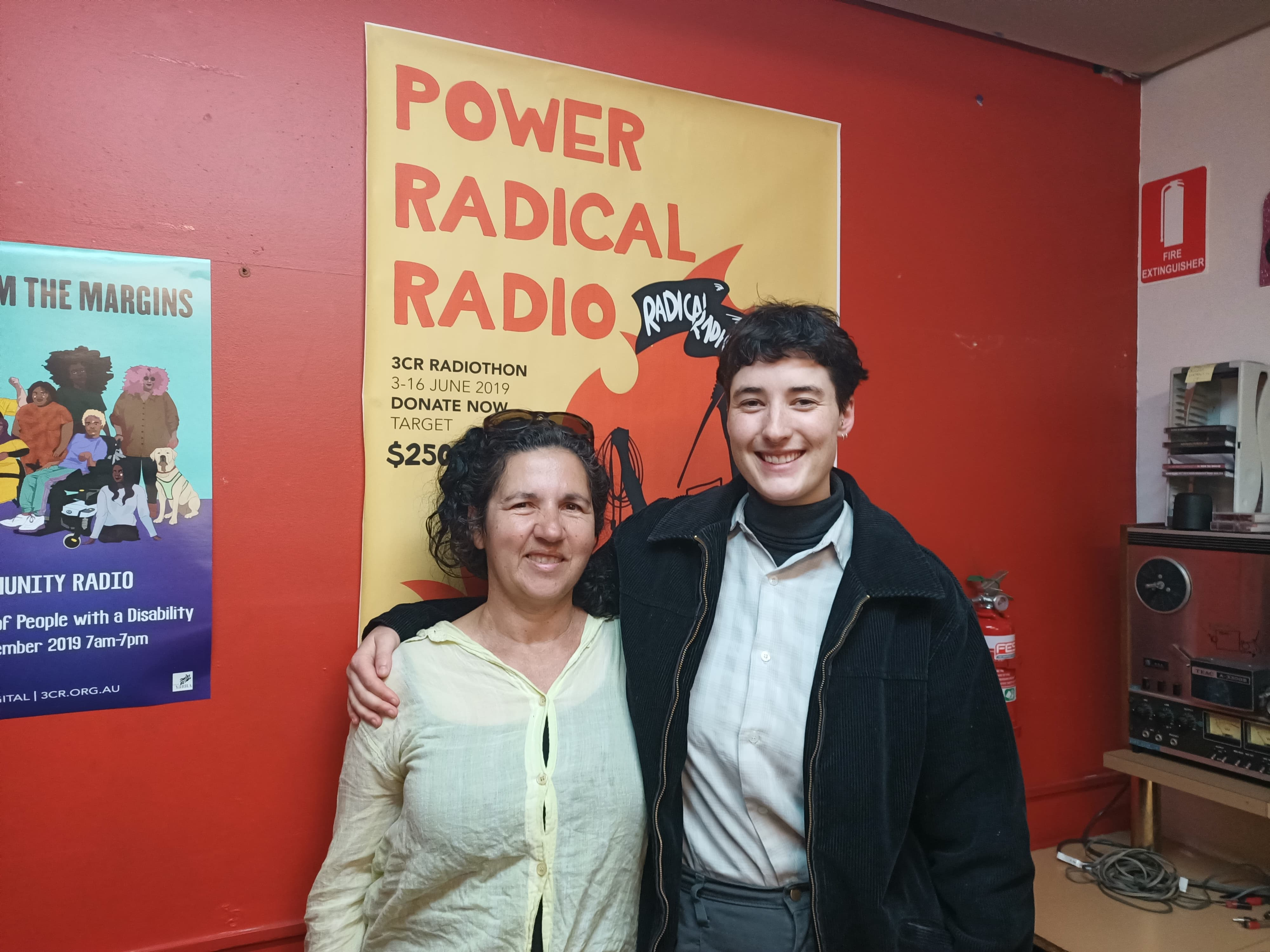 Claudia and Helen at the 3cr studio