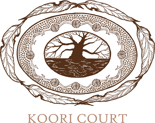 Koori Court Logo: A tree in an oval, surrounded by gum leaves
