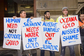 Union members protest Oceana Gold in Melbourne.
